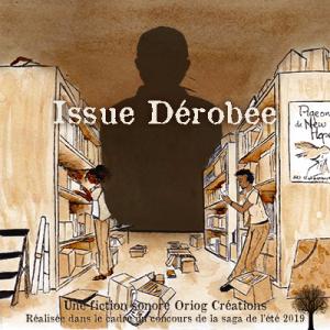 Pochette d'Issue Dérobée représentant deux personnages fouillant dans des cartons, une immense silhouette se découpant en fond